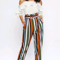 Star Bright Multicolor Vertical Stripe Pattern Belted Loose Tapered Pants