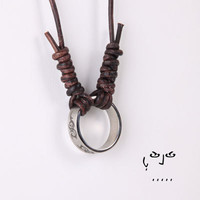VujuWear Stainless Steel Tribal Ring Pendant  Men's Leather Necklace