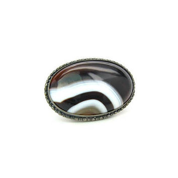 Art Deco Banded Agate Brooch. Sterling Silver 935. Embossed Oval Frame. Austria Hungary. Vintage 1910s 1920s Victorian Antique Jewelry