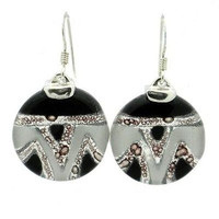 Tili Glass Aztec Black and White Round Glass Sterling Silver Earrings
