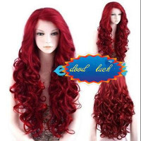 Long Curly Wavy Red Wig Heat Resistant hair wig