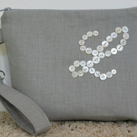 Monogrammed Clutch Bag, Personalized Clutch Bag, Monogrammed Makeup Bag, Brides Clutch Bag, Wedding Clutch Bag, Monogrammed Wristlet/Bride