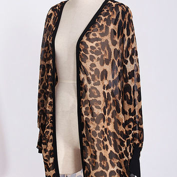 Long Chiffon Ladies Leopard Shirts Women's Kimono Cardigan Batwing Blusas Air Conditioning Sunscreen Blouses SM6