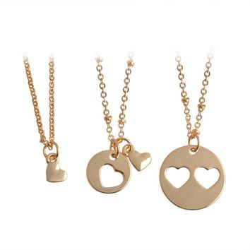 3 pcs/set Mother Daughter Necklace For Family Women Gold Silver Color Hollow Love Heart Shaped Pendant Necklaces Jewelry Gift