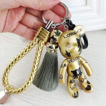 CREY8UV Fashion New Brand Leather Tassel Gloomy Bear Keychain Keyring For Women Bag Car Key Chain Trinket Jewelry Gift Souvenirs Llavero