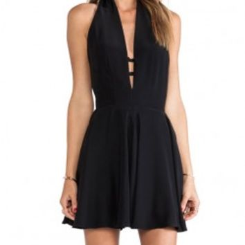 Black Deep-V Bow-tie Backless Sleeveless Dress