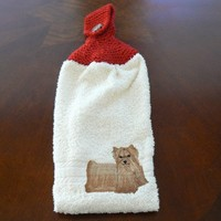 Embroidered Yorkie Hanging Dish Towel With Hand Knit Button Topper  | hollyknittercreations - Housewares on ArtFire