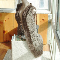 Long openwork vest sleeveless sweater fits most small medium large women or small men