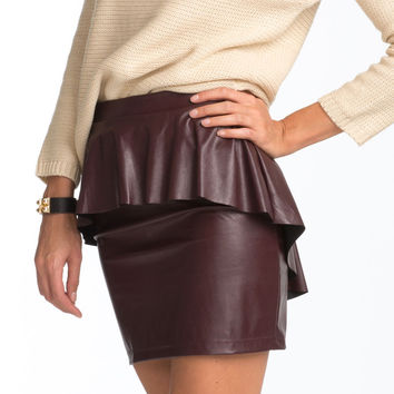 OxBlood Leatherette Peplum Skirt