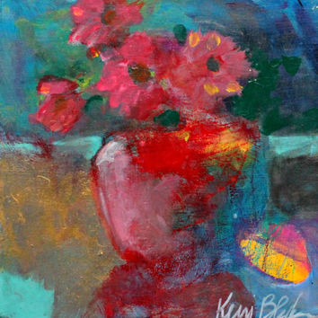 "Abstract Floral Painting, Acrylic Paint, Red, Modern Still Life 8x8 ""Flowers"""