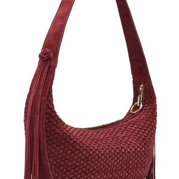 Elizabeth and James 'Zoe' Woven Suede Hobo Bag | Nordstrom