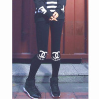 Chanel Double C letter printing cotton sports fitness leggings