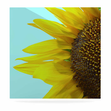 """Richard Casillas """"Sunflower Mint"""" Yellow Teal Luxe Square Panel"""
