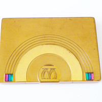 Dorothy Gray Compact Jewel Tone Rhinestone Baguette Monogrammed Art Deco Accessory