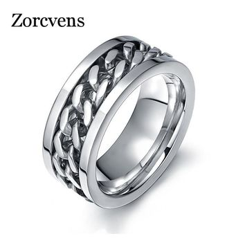 ZORCVENS Spinner Silver Color Chain Ring for Men Punk Titanium Steel Metal Finger Jewelry