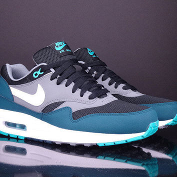 NIKE Air Max 1 Essential black midnight turquoise white men shoes 537383 013