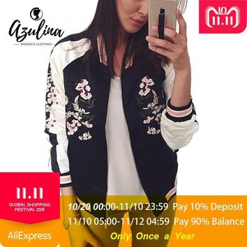 Trendy AZULINA Reversible Jacket Coat Floral Embroidered Bomber Jacket Women Autumn Flower Baseball Basic Jacket Female Black Coat 2018 AT_94_13