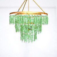 "Tristand - Au Courant Interiors LLC- 24"" Three Tier Sea Glass Pendant Chandelier"