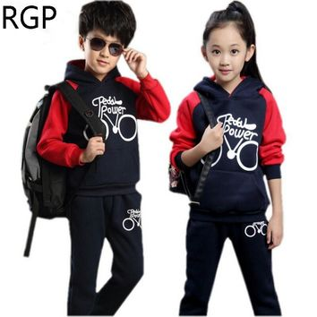 Kids Sport Suit Girls Tracksuit Boys Sportswear Outfits Hooded Sweatshirts + Pants 2pcs/set 4 6 8 10 12 Year Children Clothes