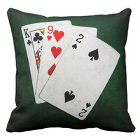 Blackjack 21 point - King, Nine, Two Throw Pillow