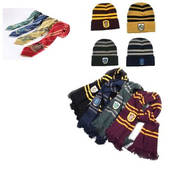 Halloween Harri Potter Scarf Cosplay Costume Gryffindor Slytherin Ravenclaw hufflepuff hat Cotton Scarf For decoration gift