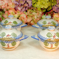 4 Beautiful French Luneville Fainence Lug Handle Covered Cream Soup Bowls Cups
