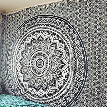"Exclusive ""Black and White & Gray Ombre Tapestry by JaipurHandloom"" Mandala Tapestry, Queen, Multi Color Indian Mandala Wall Art Hippie Wall Hanging Bohemian Bedspread"