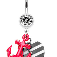 Vibrant Anchor Nautical Heart Belly Button Ring
