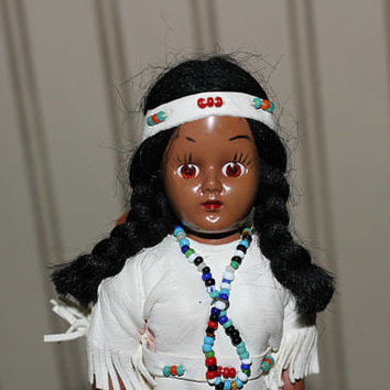 Indian Maiden Doll & Papoose | Girl Doll Fringed Beaded Leather Dress , Moccasins , Headband | American Indian Doll Brown Skin | Vintage 50s