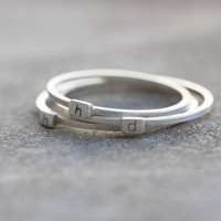 Initial ring - Sterling silver stackable ring - low case letter