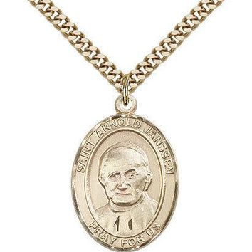 "Saint Arnold Janssen Medal For Men - Gold Filled Necklace On 24"" Chain - 30 D... 617759049169"