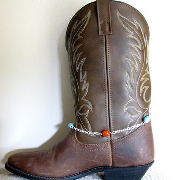 Cowgirl Boot Jewelry, Beaded Chain Boot Bracelet Bootlet