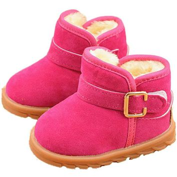 winter baby shoes snow boots imiation fur Fashion Child Cotton Boot Warm Snow Boots boy girl snow bootsT-tied 3 colours 1-6Y