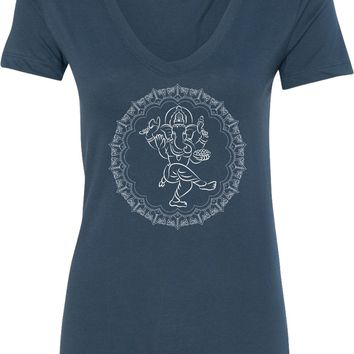 Womens Yoga T-shirt Circle Ganesha White Print Blended V-neck