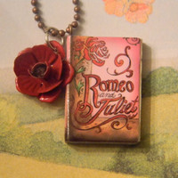 Romeo And Juliet Charm Necklace. A Rose By Any Other Name. 18 Inch Chain.
