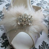 Satin Shoes Adorned With Feathers And Crystals Choose by Parisxox