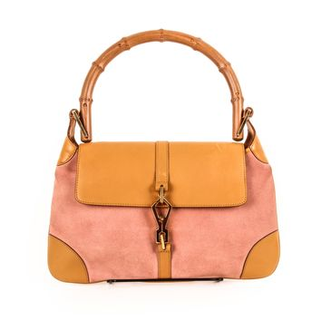 Gucci Pink Leather and Canvas Bamboo Purse