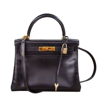 Pre-owned  Hermes Kelly Calf Box 28cm Bag with Strap