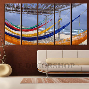 LARGE CANVAS ART - Canvas Print 5 Panel Colorful Hammock on Beach + Art Canvas Sea and Beach + Colourful Holiday Hammock Canvas Art Painting
