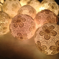 Fairy Lights,Cotton Ball Lights with fabric flower ,wedding patio,indoor string lights,bedroom fairy lights,20 pieces , white tone