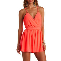 NEON STRAPPY BACKLESS CHIFFON ROMPER
