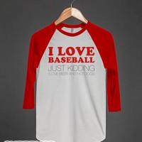 I Love Baseball Just Kidding Beer and Hotdogs.-White/Red T-Shirt