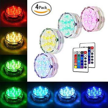 Submersible LED Lights Underwater Vase Light Remote Control RGB Multi Color Changing Waterproof Candle Diving Light for Event Party and Home Decoration 10 LED (4 pcs)