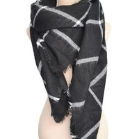 Women Tartan Scarf Stole Plaid Blanket Checked Scarves Wraps Shawl(Black)