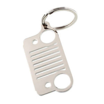 Hot Portable Stainless Steel Jeep Grill Grille Key Chain Silver CJ JK YJ