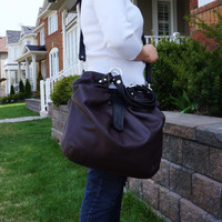 Dark brown leather pleated satchel, Large leather convertible bag, versatile messenger and backpack purse
