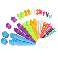 Gauges Kit 36 Pieces 14G-00G Mix Colors Acrylic Tapers and Plugs - 18 Pairs Assorted