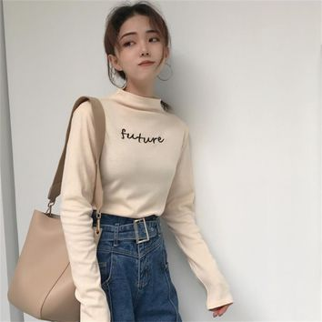 women's T-shirts tops Japan kawaii Ladies retro chic casual embroidery letters high collar Tshirt Female korean harajuku clothes