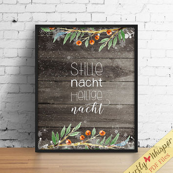 Stille nacht Heilige nacht, Weinachten deko, German print, German language, Christmas print, Christmas decoration, Weinachten decor