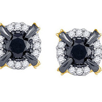 Black Diamond Fashion Earrings in 10k Gold 0.96 ctw
